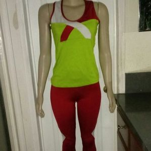Kathyana Neon Green Red and White Work Out Set